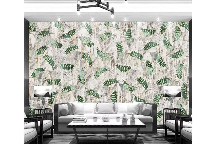 3D Home Wallpaper Green Leaf 1276 BCHW Wall Murals Woven paper (need glue), XXXL 416cm x 254cm (WxH)(164''x100'')