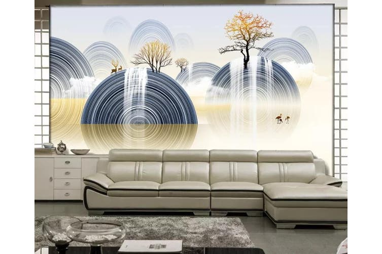 3D Home Wallpaper Round Tree 1270 BCHW Wall Murals Woven paper (need glue), XXXXL 520cm x 290cm (WxH)(205''x114'')