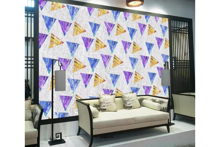 3D Home Wallpaper Colored Triangle 1269 BCHW Wall Murals Woven paper (need glue), XXXXL 520cm x 290cm (WxH)(205''x114'')