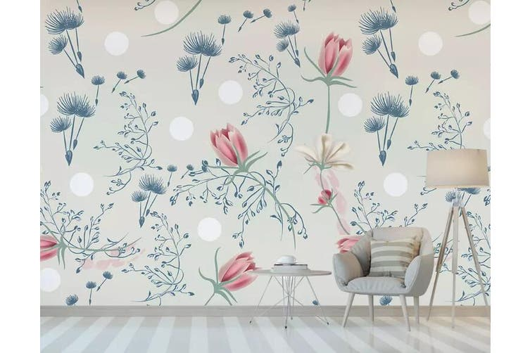 3D Home Wallpaper Colored Flowers 1262 BCHW Wall Murals Woven paper (need glue), XXL 312cm x 219cm (WxH)(123''x87'')