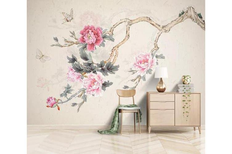 3D Home Wallpaper Pink Flowers 1233 BCHW Wall Murals Woven paper (need glue), XL 208cm x 146cm (WxH)(82''x58'')