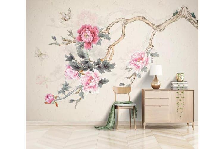 3D Home Wallpaper Pink Flowers 1233 BCHW Wall Murals Woven paper (need glue), XXXL 416cm x 254cm (WxH)(164''x100'')