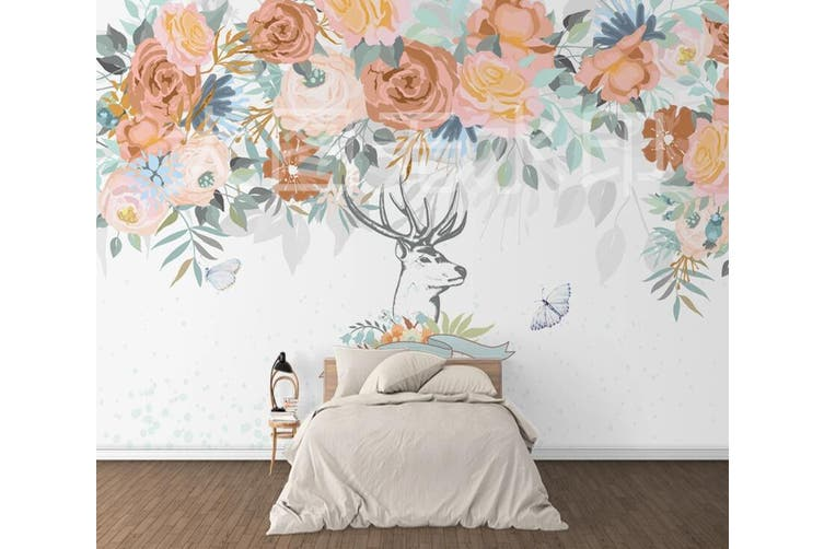 3D Home Wallpaper Colored Flowers 1228 BCHW Wall Murals Woven paper (need glue), XL 208cm x 146cm (WxH)(82''x58'')