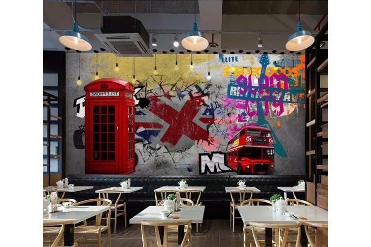 3D Home Wallpaper Red Bus 1226 BCHW Wall Murals Woven paper (need glue), XXXL 416cm x 254cm (WxH)(164''x100'')