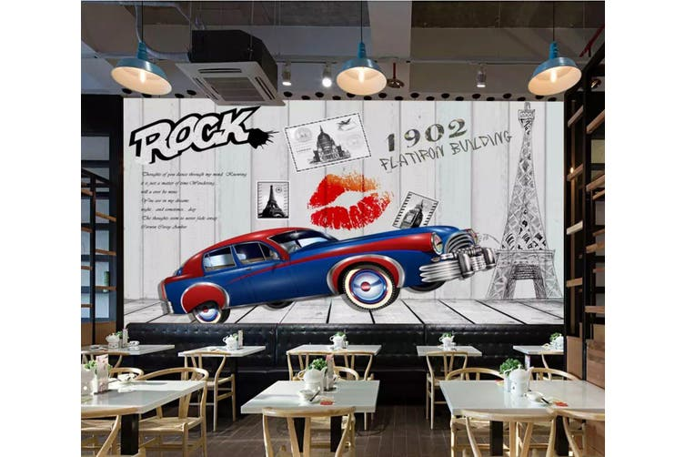 3D Home Wallpaper Car Red Lips 1225 BCHW Wall Murals Woven paper (need glue), XXXL 416cm x 254cm (WxH)(164''x100'')
