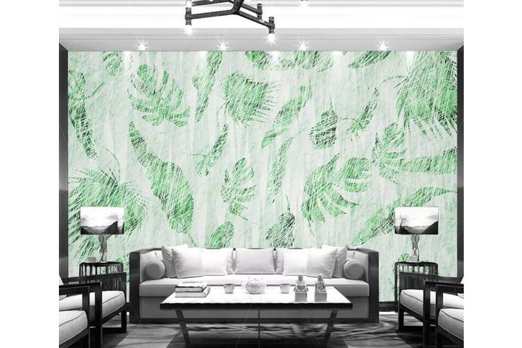 3D Home Wallpaper Green Leaf 1224 BCHW Wall Murals Self-adhesive Vinyl, XXXL 416cm x 254cm (WxH)(164''x100'')