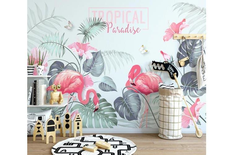 3D Home Wallpaper Pink Flamingo 1223 BCHW Wall Murals Woven paper (need glue), XXL 312cm x 219cm (WxH)(123''x87'')