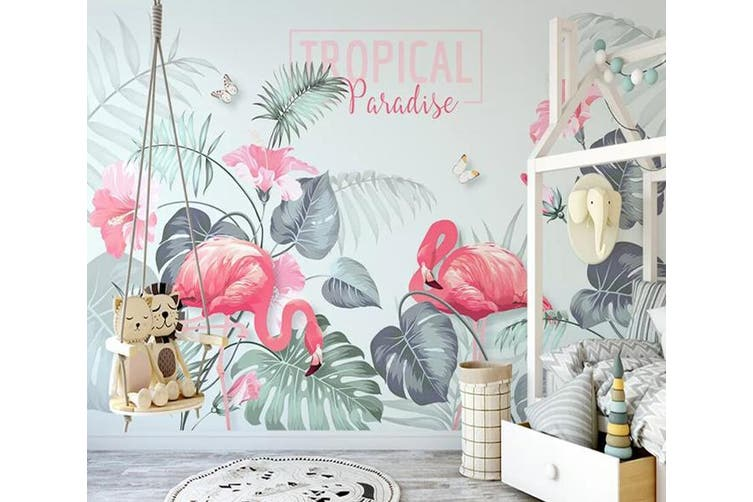 3D Home Wallpaper Pink Flamingo 1223 BCHW Wall Murals Woven paper (need glue), XXXL 416cm x 254cm (WxH)(164''x100'')