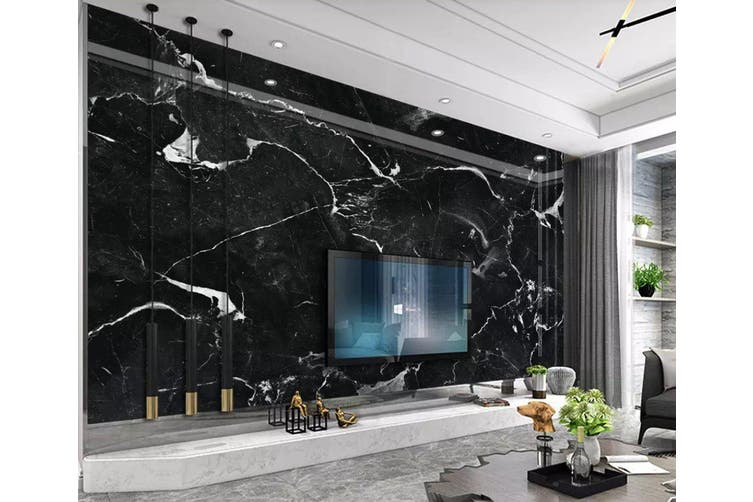 3D Home Wallpaper Striped Black 1219 BCHW Wall Murals Woven paper (need glue), XXXL 416cm x 254cm (WxH)(164''x100'')