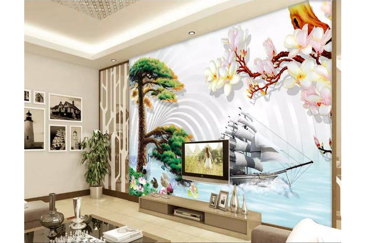 3D Home Wallpaper Pine 12X BCHW Wall Murals Woven paper (need glue), XL 208cm x 146cm (WxH)(82''x58'')