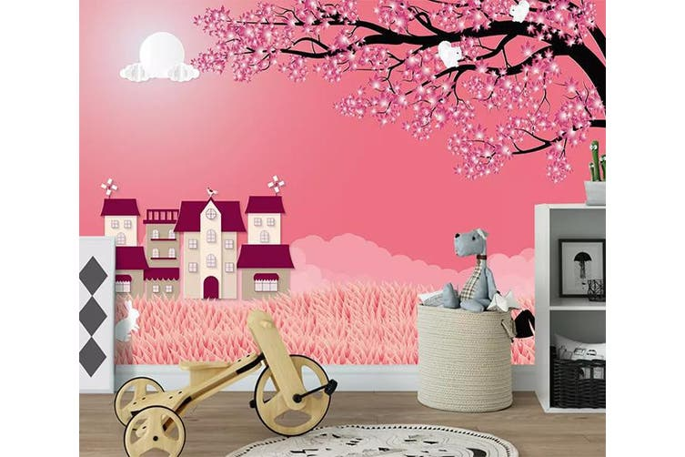 3D Home Wallpaper Pink House 1217 BCHW Wall Murals Woven paper (need glue), XL 208cm x 146cm (WxH)(82''x58'')
