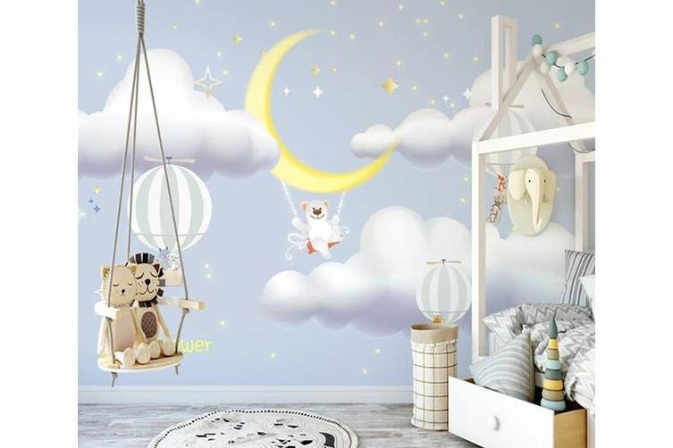 3D Home Wallpaper White Cloud Moon 1215 BCHW Wall Murals Woven paper (need glue), XXXXL 520cm x 290cm (WxH)(205''x114'')