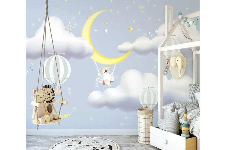 3D Home Wallpaper White Cloud Moon 1215 BCHW Wall Murals Self-adhesive Vinyl, XL 208cm x 146cm (WxH)(82''x58'')