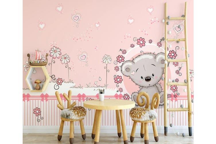 3D Home Wallpaper Pink Bear 1213 BCHW Wall Murals Woven paper (need glue), XXXXL 520cm x 290cm (WxH)(205''x114'')