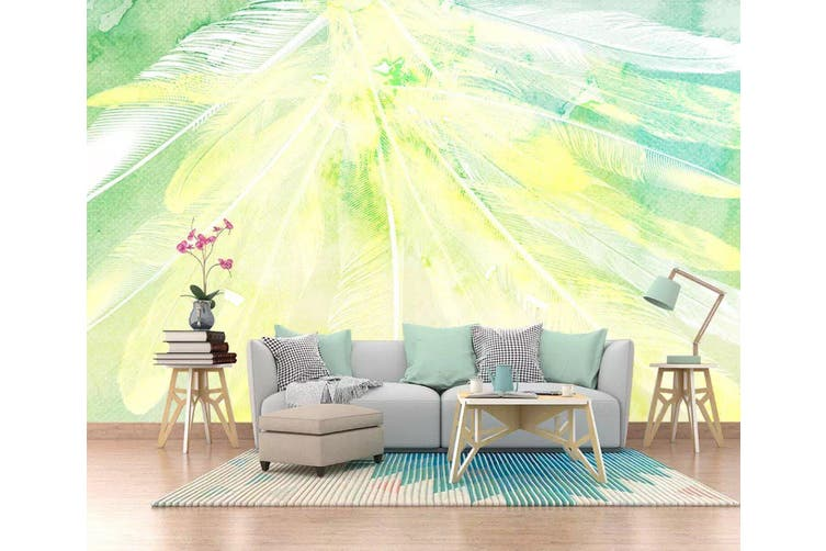 3D Home Wallpaper Colored Feather 1207 BCHW Wall Murals Self-adhesive Vinyl, XXL 312cm x 219cm (WxH)(123''x87'')