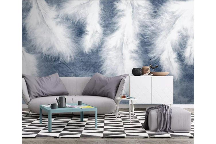 3D Home Wallpaper White Feather 1203 BCHW Wall Murals Woven paper (need glue), XXL 312cm x 219cm (WxH)(123''x87'')