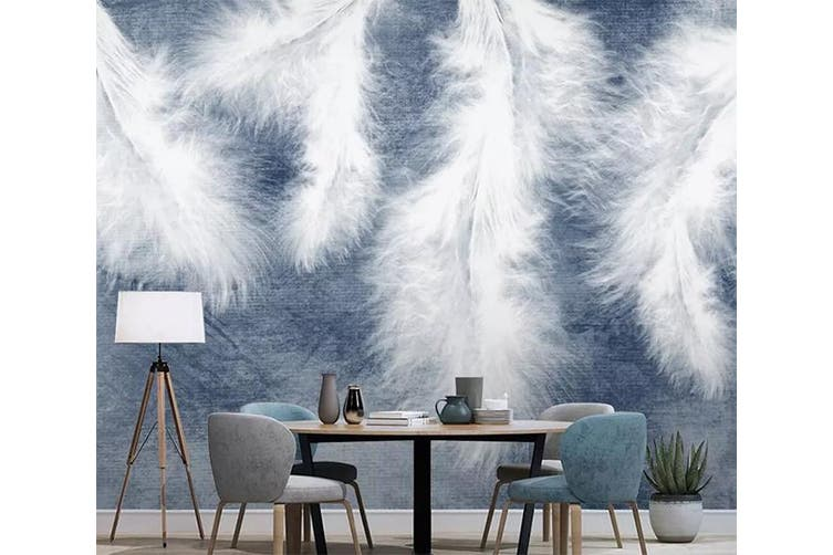 3D Home Wallpaper White Feather 1203 BCHW Wall Murals Woven paper (need glue), XXXXL 520cm x 290cm (WxH)(205''x114'')