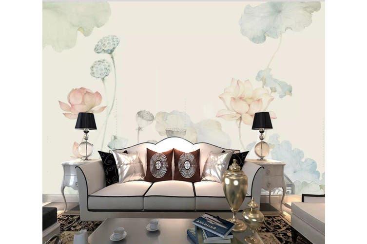 3D Home Wallpaper Lotus Pond 1202 BCHW Wall Murals Woven paper (need glue), XXXXL 520cm x 290cm (WxH)(205''x114'')