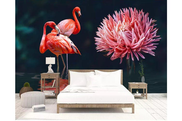 3D Home Wallpaper Pink Flamingo 1201 BCHW Wall Murals Self-adhesive Vinyl, XXL 312cm x 219cm (WxH)(123''x87'')