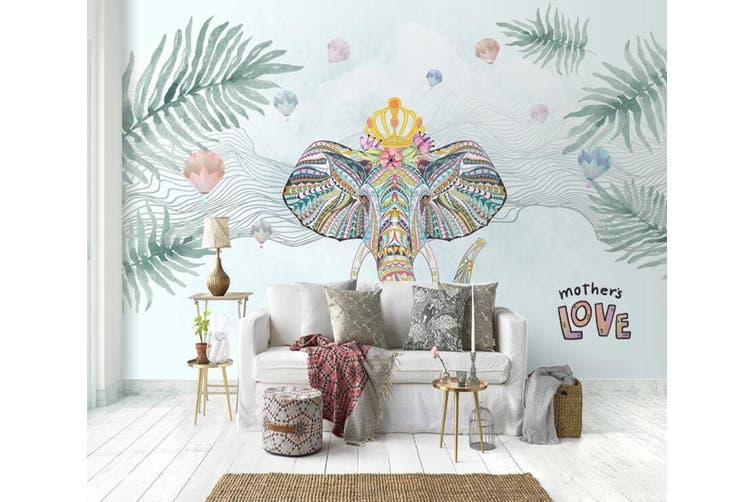 3D Home Wallpaper Elephant Green Leaf 1199 BCHW Wall Murals Woven paper (need glue), XL 208cm x 146cm (WxH)(82''x58'')