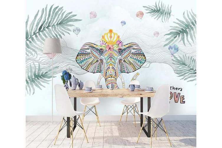 3D Home Wallpaper Elephant Green Leaf 1199 BCHW Wall Murals Woven paper (need glue), XXL 312cm x 219cm (WxH)(123''x87'')