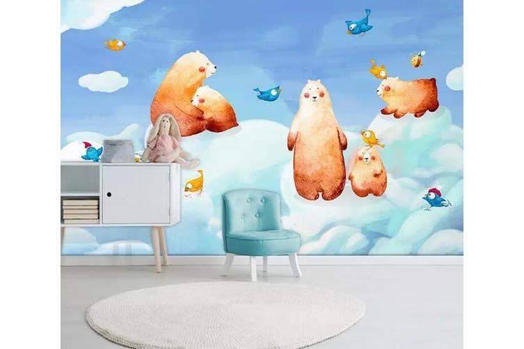 3D Home Wallpaper Cute Bear 1X6 BCHW Wall Murals Woven paper (need glue), XL 208cm x 146cm (WxH)(82''x58'')