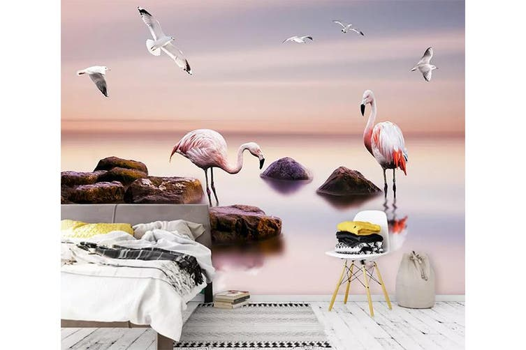 3D Home Wallpaper Flamingo Lake 1X5 BCHW Wall Murals Woven paper (need glue), XL 208cm x 146cm (WxH)(82''x58'')