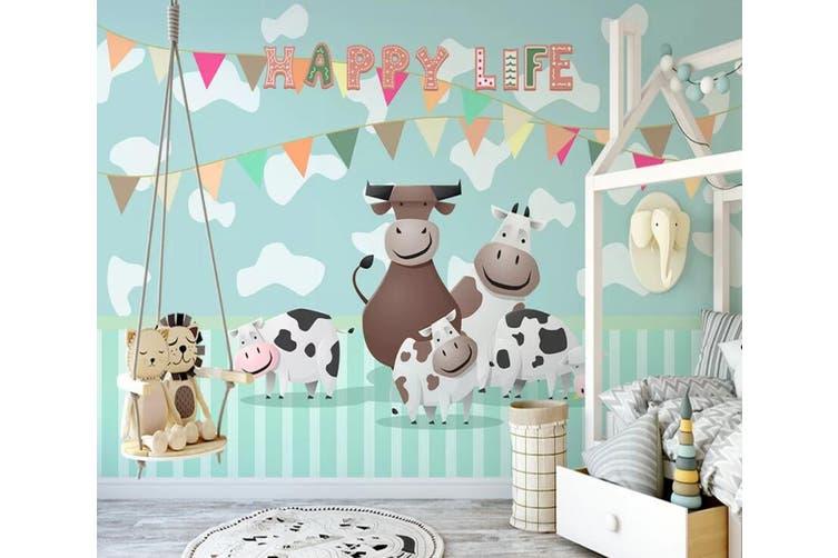 3D Home Wallpaper Cow 1X2 BCHW Wall Murals Woven paper (need glue), XXXXL 520cm x 290cm (WxH)(205''x114'')