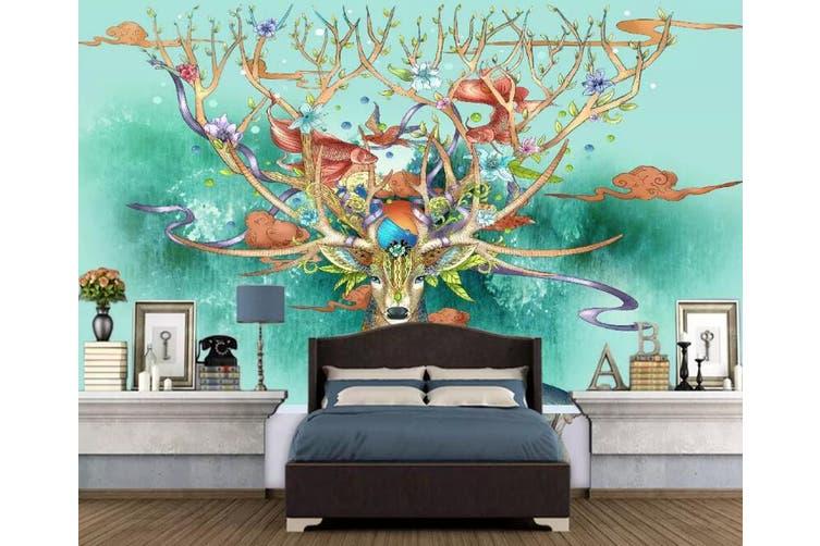 3D Home Wallpaper Color Deer 1174 BCHW Wall Murals Woven paper (need glue), XL 208cm x 146cm (WxH)(82''x58'')