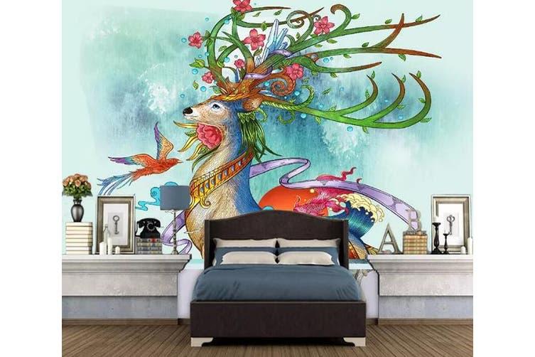 3D Home Wallpaper Color Deer 1173 BCHW Wall Murals Self-adhesive Vinyl, XXL 312cm x 219cm (WxH)(123''x87'')