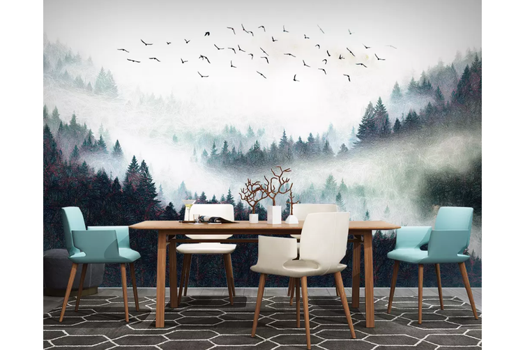 3D Home Wallpaper Foggy Forest 1164 BCHW Wall Murals Self-adhesive Vinyl, XXL 312cm x 219cm (WxH)(123''x87'')