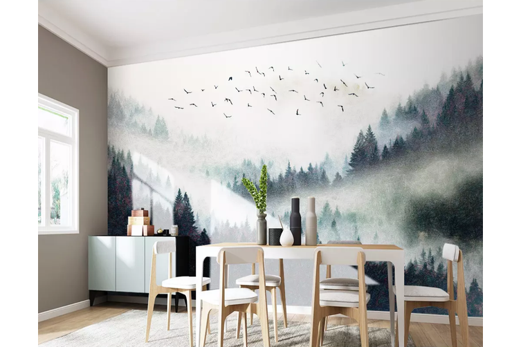 3D Home Wallpaper Foggy Forest 1164 BCHW Wall Murals Self-adhesive Vinyl, XXXXL 520cm x 290cm (WxH)(205''x114'')
