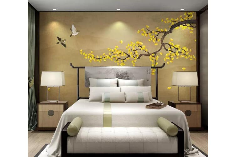 3D Home Wallpaper Golden Flowers 1161 BCHW Wall Murals Self-adhesive Vinyl, XXXL 416cm x 254cm (WxH)(164''x100'')