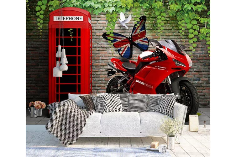 3D Home Wallpaper Red Motorcycle 1159 BCHW Wall Murals Woven paper (need glue), XL 208cm x 146cm (WxH)(82''x58'')