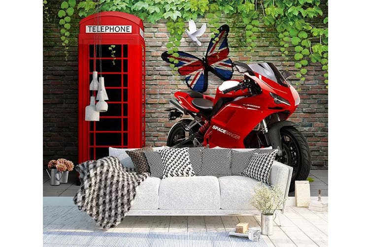 3D Home Wallpaper Red Motorcycle 1159 BCHW Wall Murals Woven paper (need glue), XXXL 416cm x 254cm (WxH)(164''x100'')