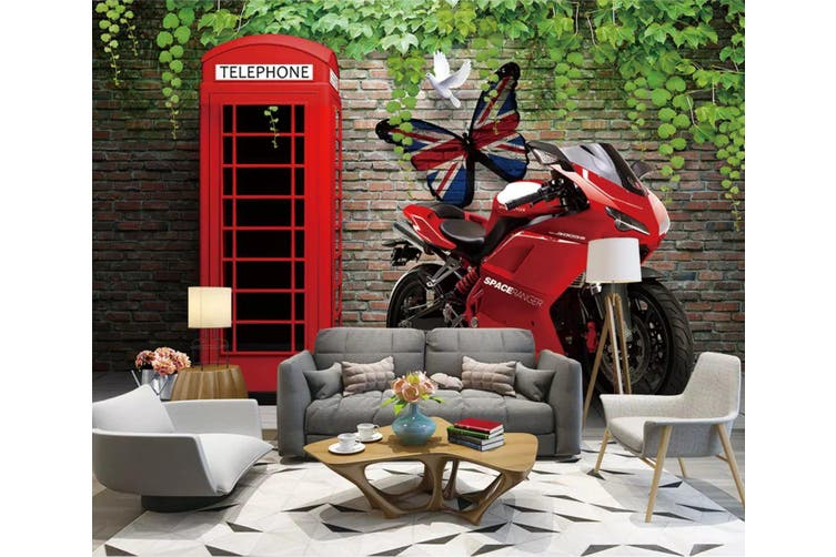 3D Home Wallpaper Red Motorcycle 1159 BCHW Wall Murals Self-adhesive Vinyl, XL 208cm x 146cm (WxH)(82''x58'')