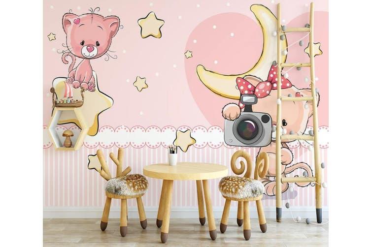 3D Home Wallpaper Pink Cat 1155 BCHW Wall Murals Woven paper (need glue), XXXL 416cm x 254cm (WxH)(164''x100'')