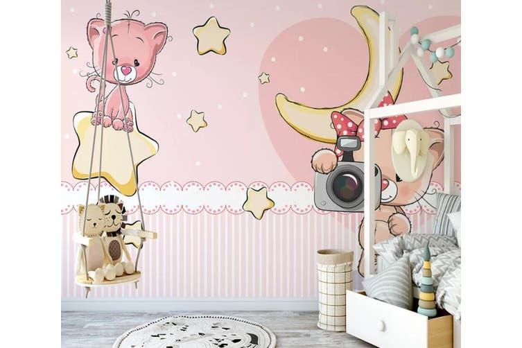 3D Home Wallpaper Pink Cat 1155 BCHW Wall Murals Self-adhesive Vinyl, XXXXL 520cm x 290cm (WxH)(205''x114'')