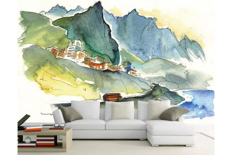 3D Home Wallpaper Mountain House 1149 BCHW Wall Murals Self-adhesive Vinyl, XXL 312cm x 219cm (WxH)(123''x87'')
