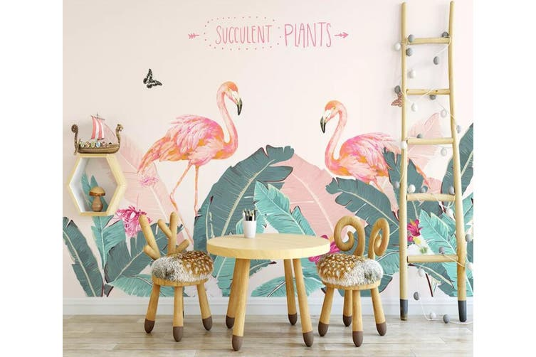 3D Home Wallpaper Pink Flamingo 1147 BCHW Wall Murals Woven paper (need glue), XXXXL 520cm x 290cm (WxH)(205''x114'')