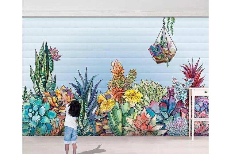 3D Home Wallpaper Colored Flowers 1142 BCHW Wall Murals Woven paper (need glue), XXXXL 520cm x 290cm (WxH)(205''x114'')