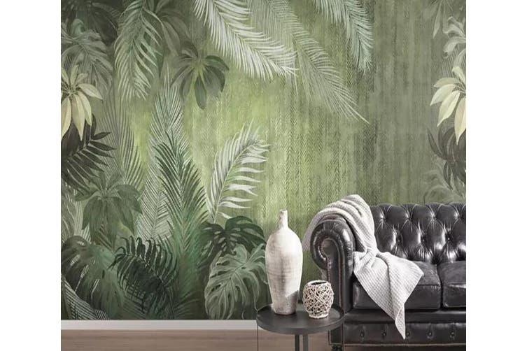3D Home Wallpaper Green Leaf 1137 BCHW Wall Murals Woven paper (need glue), XXL 312cm x 219cm (WxH)(123''x87'')