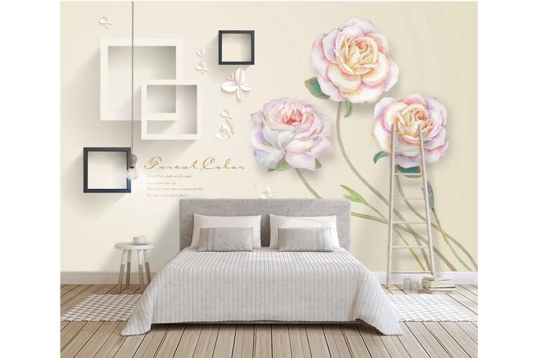 3D Home Wallpaper Flower Square 1131 BCHW Wall Murals Self-adhesive Vinyl, XL 208cm x 146cm (WxH)(82''x58'')
