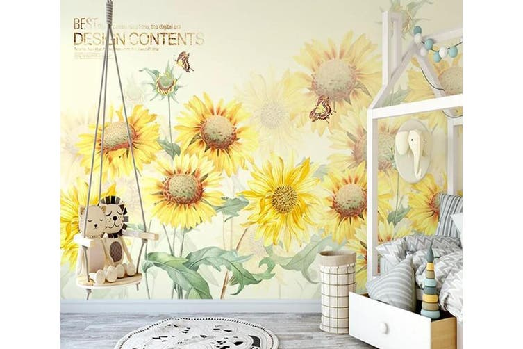 3D Home Wallpaper Sunflower 1125 BCHW Wall Murals Woven paper (need glue), XXL 312cm x 219cm (WxH)(123''x87'')