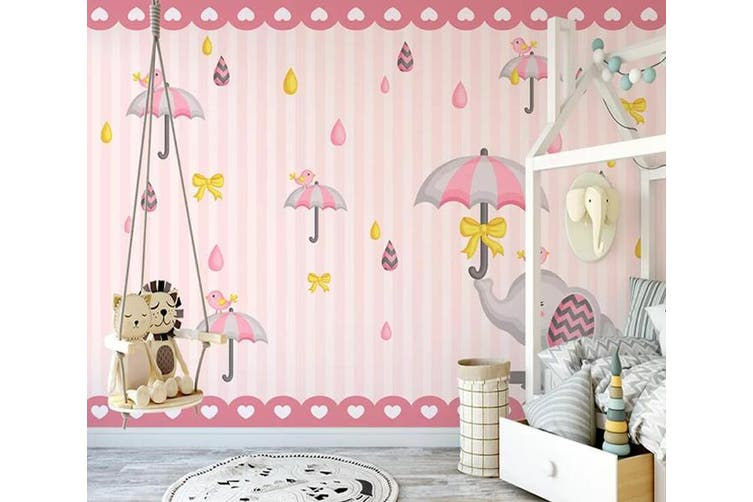 3D Home Wallpaper Pink Umbrella 1124 BCHW Wall Murals Self-adhesive Vinyl, XXXXL 520cm x 290cm (WxH)(205''x114'')