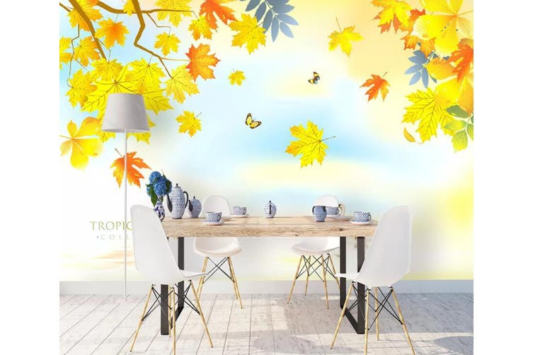 3D Home Wallpaper Colored Leaves 1120 BCHW Wall Murals Self-adhesive Vinyl, XXXXL 520cm x 290cm (WxH)(205''x114'')