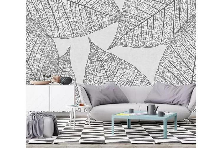 3D Home Wallpaper Gray Leaves 1112 BCHW Wall Murals Woven paper (need glue), XL 208cm x 146cm (WxH)(82''x58'')