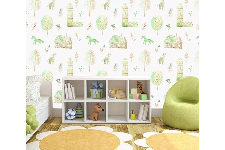 3D Home Wallpaper Pony Leaves 1100 BCHW Wall Murals Woven paper (need glue), XL 208cm x 146cm (WxH)(82''x58'')