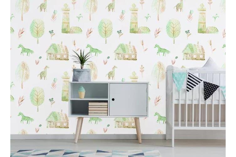 3D Home Wallpaper Pony Leaves 1100 BCHW Wall Murals Self-adhesive Vinyl, XXXL 416cm x 254cm (WxH)(164''x100'')