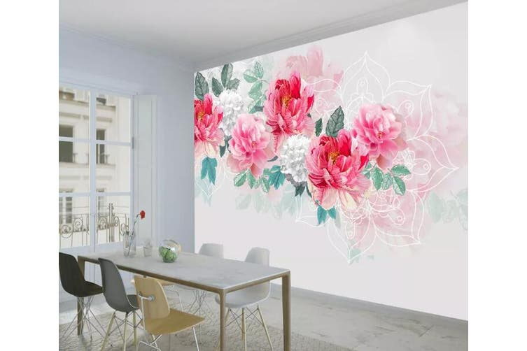 3D Home Wallpaper Pink Rose 1098 BCHW Wall Murals Self-adhesive Vinyl, XXXXL 520cm x 290cm (WxH)(205''x114'')